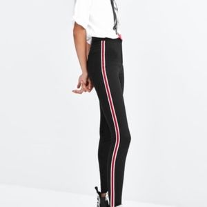 Zara HI-RISE Super Elastic Jeggings W/ Side Stripe